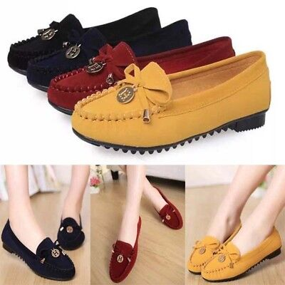 Women Ladies Suede Moccasin Slip On Loafers Flats Ballet Casual Comfy Work Shoes