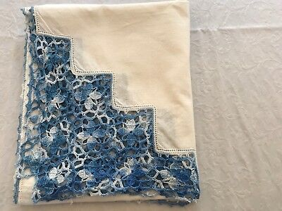 """VINTAGE WHITE COTTON HAND EMBROIDERED BLUE TABLECLOTH - 33x40"""""""
