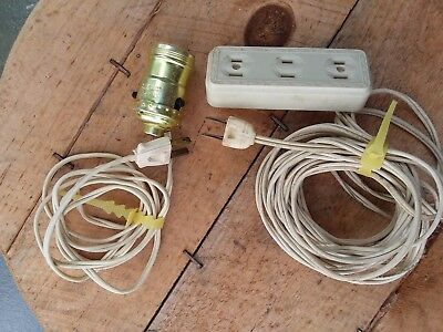Vintage Electric Extension Cord Outlet Receptacle Plug Lamp Wall White