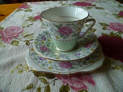 Lovely Vintage ABJ Grafton China Trio Tea Cup Saucer Plate Tiverton