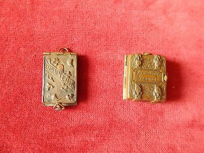2X Vintage Brass Miniatures Somebodys Luggage 12 Picture Photo Album A Other