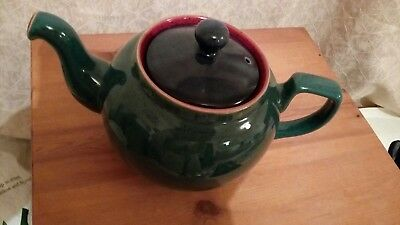 Vintage Traditional New Denby Teapot Green And Blue With Red Inside