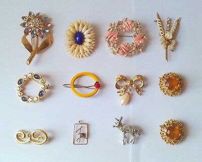 Job Lot Of Vintage Brooches