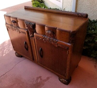 Antique English Tiger Oak Art Deco Sideboard Buffet Cabinet with Slide Out