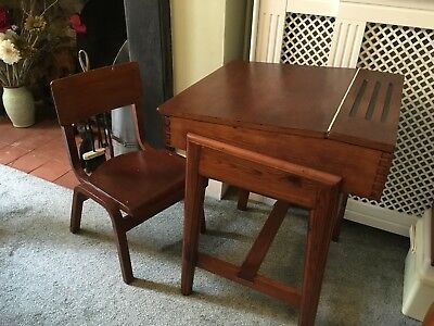 Vintage Child S Wooden Flip Top School Desk And Chair