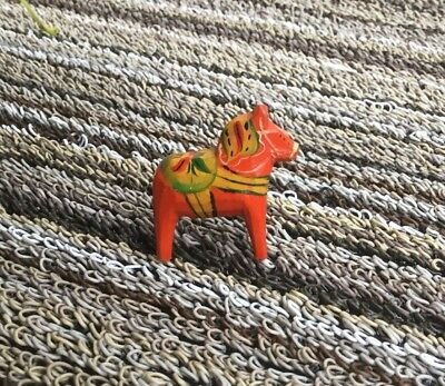 RARE Teeny Tiny Swedish Dala Horse Sweden Folk Art about 1""