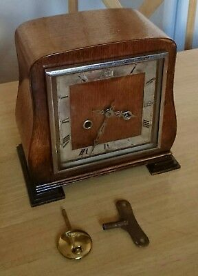 Vintage 8 day striking mantel clock with key and pendulum working 100%