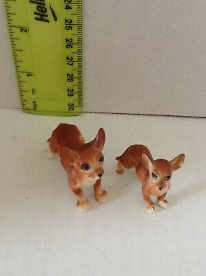 2 Porcelain Brown Chihuahua Dog Figurines