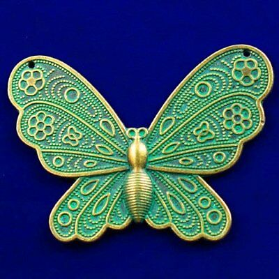 Carved Brass Bronze Butterfly Pendant Bead 60x43x2mm L82153