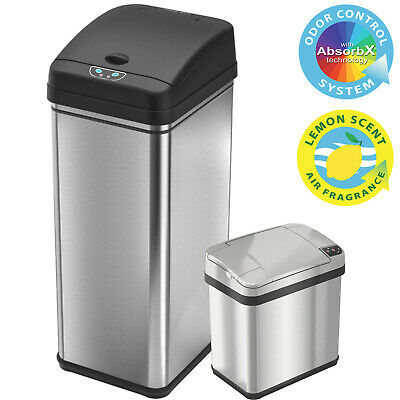 Touchless Multifunction 13 Gallon & 2 Gallon Sensor Trash Can Combo Home Kitchen