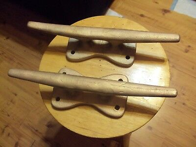 """Pair of Vintage Large Brass Bronze Boat Dock Cleats 14""""L Used"""