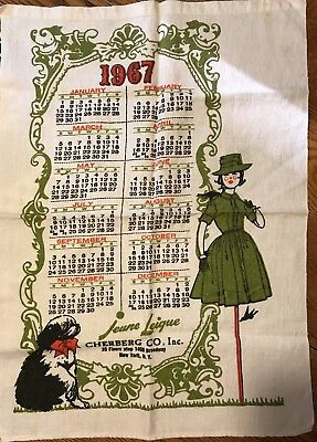 Vintage 1950s JEUNE LEIQUE by Cherberg Co Calendar Towel 1967