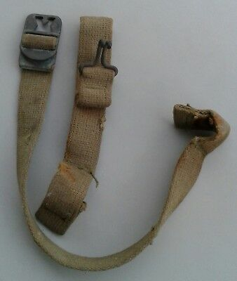 Original WWII US Army Khaki Chin Straps with Bronze Buckle for M1 Combat Helmet