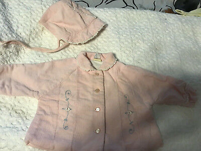 """Vintage 1950's Pink  Cordoroy """"Cute Togs"""" tagged jacket coat and bonnet hat"""