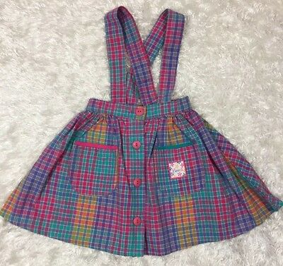 Vintage Little Levis Skirt Size 5 Made In USA Cross Straps Pink Teal Blue Plaid