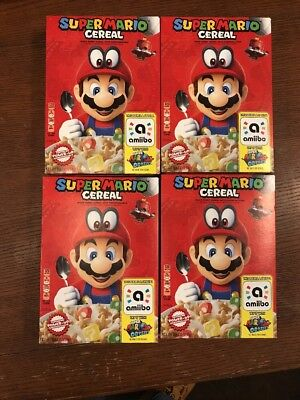 Lot Of 4 Kellogg's Super Mario Cereal Limited Edition Nintendo Amiibo Odyssey.