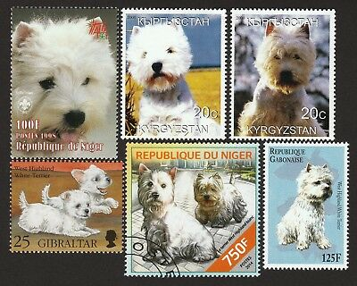 WEST HIGHLAND WHITE TERRIER ** Int'l Dog Stamp Collection ** Westie Gift Idea*