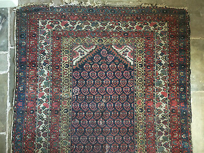 "Antique well worn Persian Caucasian hand woven rug 266cms x 136cm (105"" x 53"")"