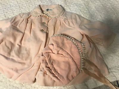 Vintage 1960's Pink Velvet jacket coat and bonnet hat with Daisy tag