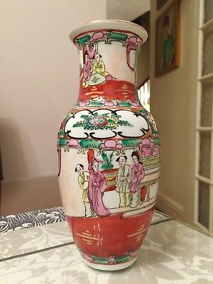 Antique 19thC Chinese Porcelain Canton Famille Rose Gilt Mandarin Vase