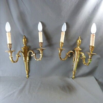 Pair of French Antique Bronze Louis XVI Style Candle Wall Sconces Lights