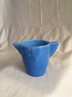 Vintage Depression Glass Akro Agate Stacked Disc Child's Blue Water Pitcher
