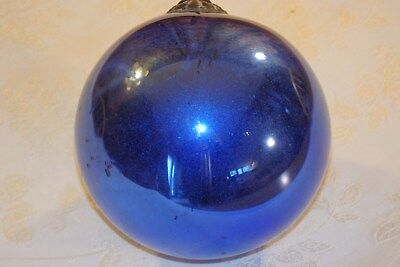 Antique Christmas Kugel Dark Blue Mercury Glass, Silver Mirrored Witches Ball