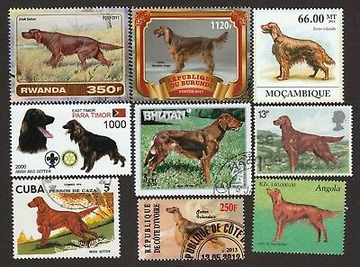 ON SALE!!  IRISH SETTER **Int'l Dog Postage Stamp Collection ** Unique Gift **