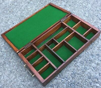 Heavy Vintage Wooden 13 Compartment Green Baize Lined Box Jewellery, Keepsakes