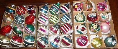 Lot Of 3 boxes ~36 Vintage Glass Christmas Ornaments Shiny Brite MORE *Beauties!