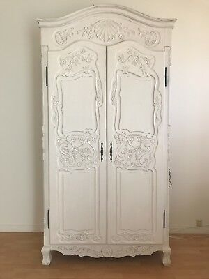 French Armoire, Solid Wood, Ornate Carvings, 8 Feet Tall, Hollywood Ca