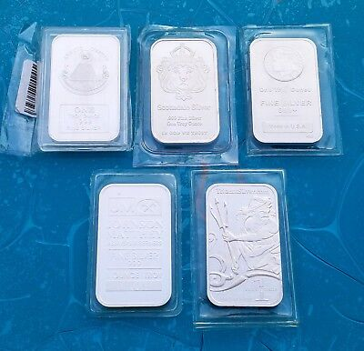 Lot of 5 Solid .999 Fine 1 troy oz Silver Bars