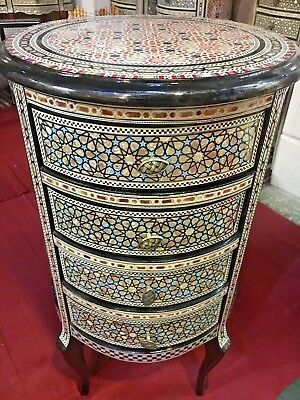 Antique Egyptian Wood Wall Sideboard, Inlaid Mother of Pearl