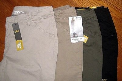 NEW Lee Perfect Fit STRAIGHT Mid-Rise Essential CHINO Pants KHAKI or Gray