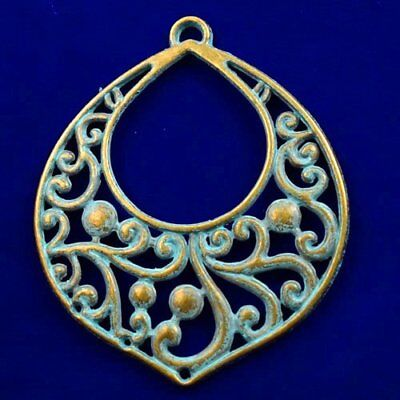 Carved Brass Bronze Teardrop Pendant Bead 59x51x2mm L82139