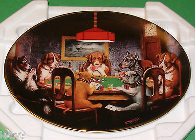 Franklin Mint Ltd Ed Oval Plate AN ACE IN THE HOLE Dogs Playing Cards New in Box