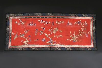Early Chinese Embroidery Panel w/ Flowers