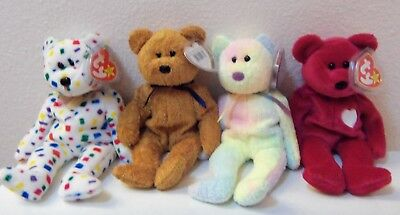 Lot of four TY Beanie Baby retiredbears, all mint with both tags