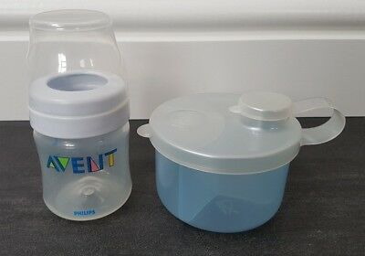 Mothercare Baby Powder Milk Formula Dispenser Blue & 1 Avent 4Oz / 125Ml Bottle