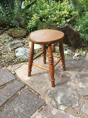 ❤️ Early English Stripped Pine Wood Stool With Turned Legs Med Height No Worm