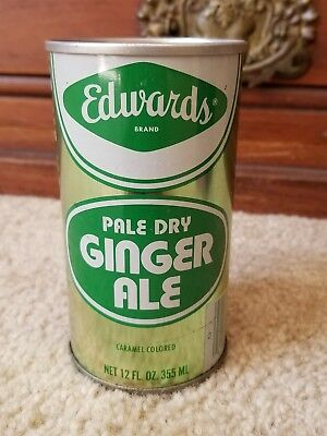 Edwards Pale Dry Ginger Ale Steel Pull Tab Air Can (Empty/not open) - Bar Coded