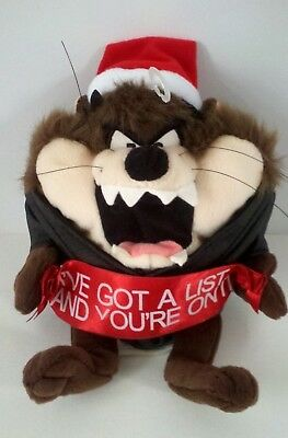 "Warner Bros Store TAZ TASMANIAN DEVIL Christmas Santa Plush Stuffed Doll 8"" EUC"