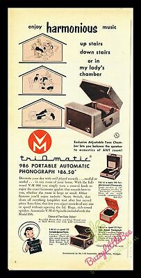 Print Ad~1953~Triomatic~Portable Phonograph~Model 986~Color~I500