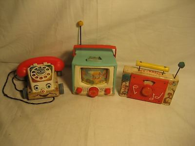 """Vintage Fisher Price Toys Lot Of 3 Used Working """"look"""""""