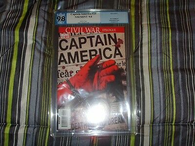 Captain America #25 Pgx Graded 9.8 Unrestored With White Pages