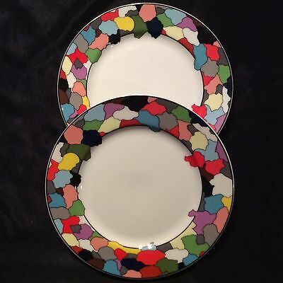 Taitu Dieci By Emilio Bergamin Italy 1986 Designer Plates With Colourful Rim X 2