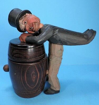 antique / vintage HAND CARVED WOOD GERMAN MAN CIGARETTE BOX