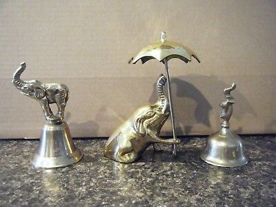 3 Brass Elephant Collectible's 2 Bell's & Elephant Christmas Gift Men Women