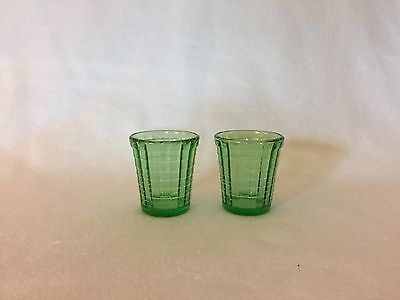 2 Akro Agate Children's Tea Set Stacked Disc Interior Panel Green Small Tumblers