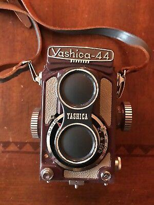 YASHICA-44 Purple/Maroon Color 127 Film Camera with Yashikor 1:3.5 f=60mm Lens